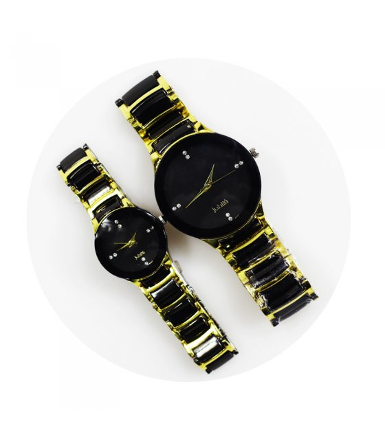 WSM194 - Gold and Black couple watch