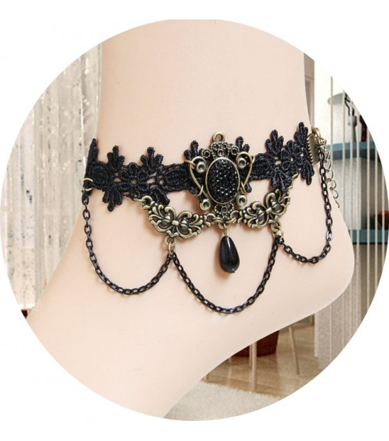 AK023 - Black Lace Beaded Anklet