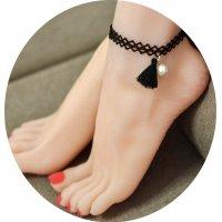 AK028 - Black Tassel Lace Anklet