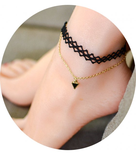 AK031 - Layered Black Lace Anklet