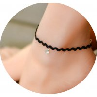 AK041 - Simple Black Lace Anklet