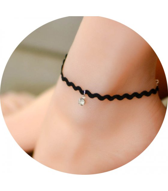 AK041 - Simple Black Lace Anklet