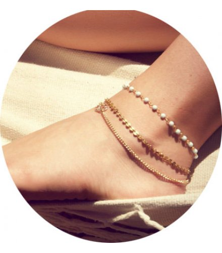 AK051 - Multi-layered beaded sequins bare chain anklet