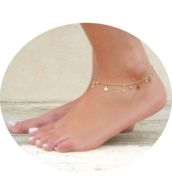 AK052 - Star charm and bead anklet