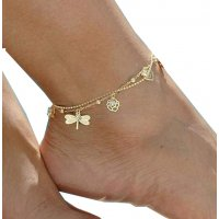 AK058 - Butterfly leaves beach anklet