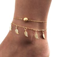 AK062 - Leaf feet simple double-layer tassel Anklet