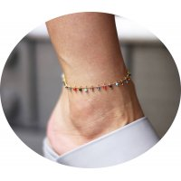 AK083 - Colorful Gemstone Anklet