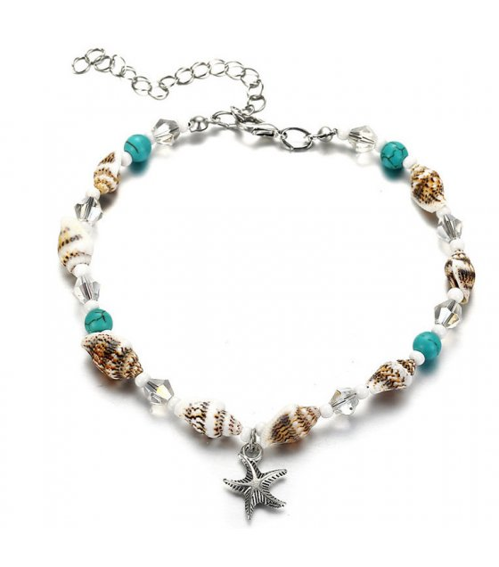 AK088 - Blue turquoise crystal anklet