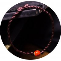 AK094 - Floral Leather rope Anklet