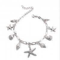 AK098 - Korean starfish shell anklet