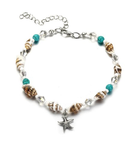 AK100 - Bohemian shell blue turquoise crystal anklet