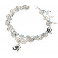 AK104 - Bohemia 3D rune leaves rice beads anklet
