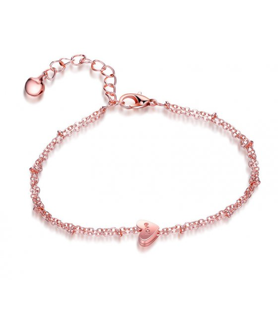 AK119 - Love peach heart heart-shaped double bracelet