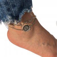 AK132 - Vintage silver bohemian flower anklet