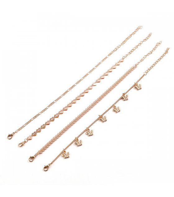 AK136 - Simple butterfly Four Piece Anklet
