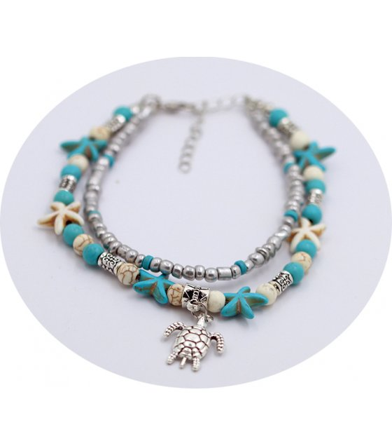 AK140 - Bohemian style Turquoise Double-layer Starfish Anklet