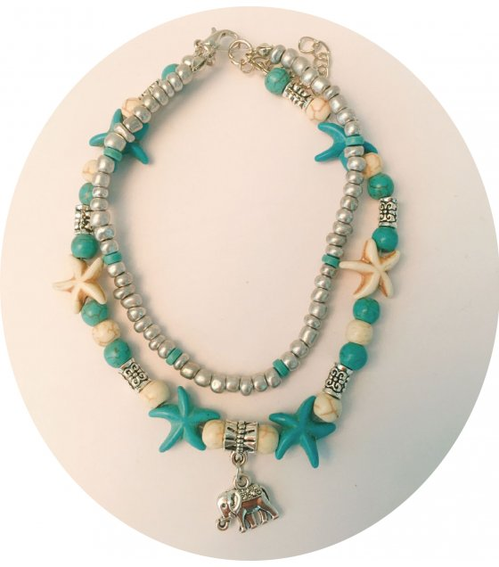 AK141 - Bohemian style Turquoise Double-layer Starfish Anklet