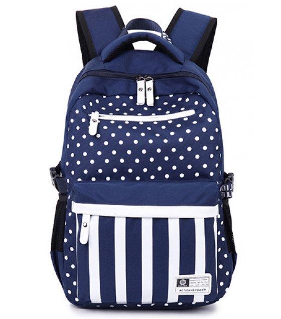BP159 - Striped Blue Backpack Bag