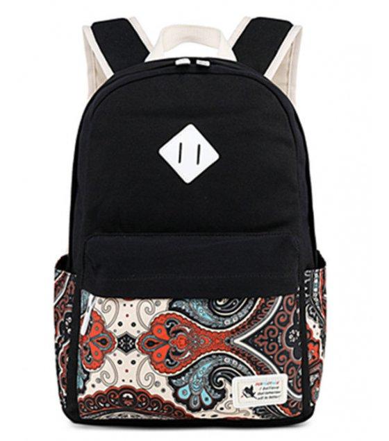 BP357 - Korean print canvas Women's backpack
