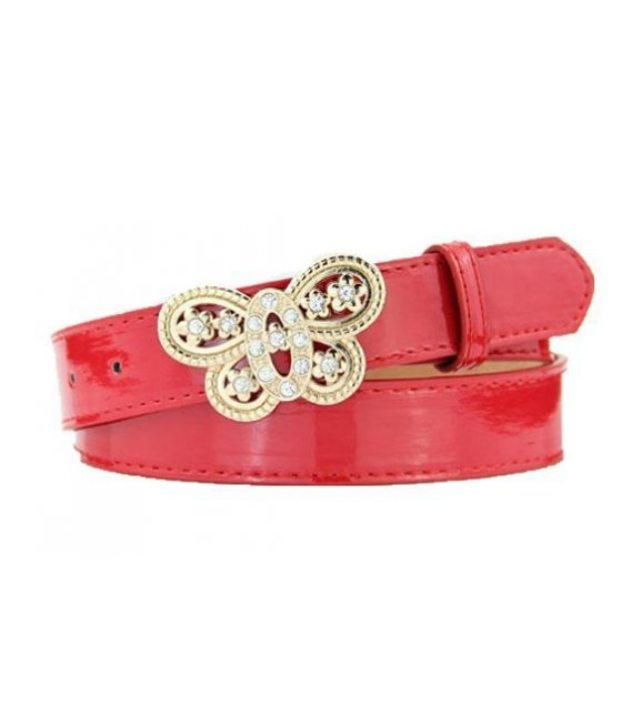 BLT113 - Womens Red Heart pin buckle belt