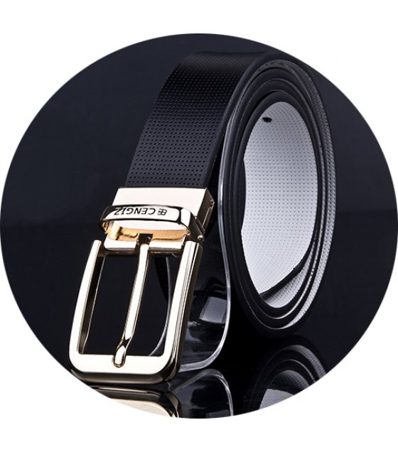 BLT196 - Gold buckle Black Belt Men's Belt