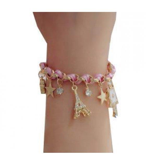 B060 -Pink Poker Stars Leather Bracelet