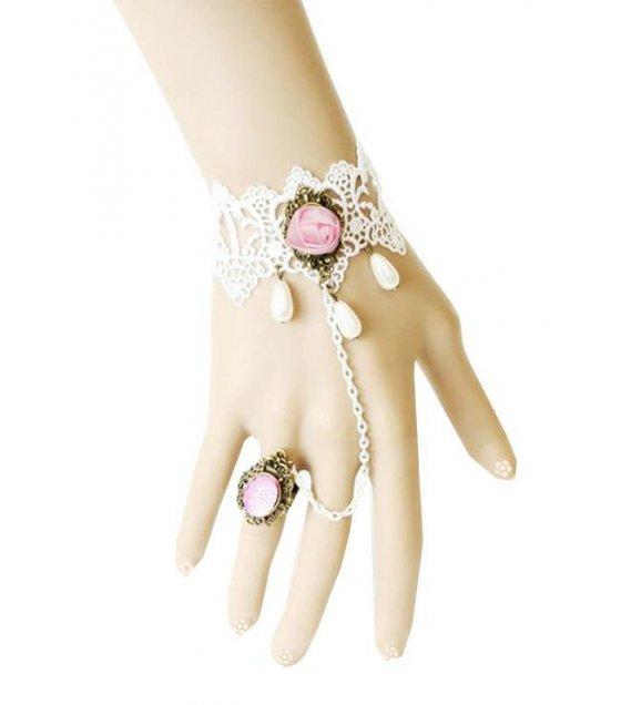 B162 - White Rose Charm Bracelet