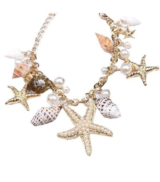 B176 - Tidal marine shells and starfish bracelet
