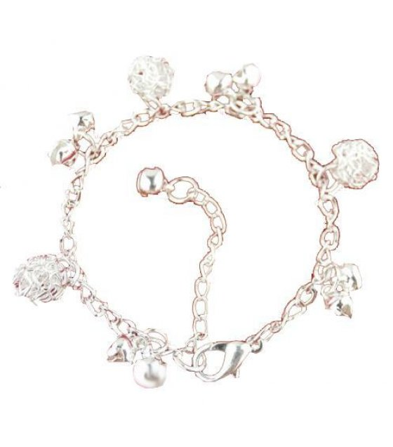 B183 - Thick silver anklet bracelet