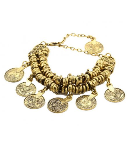 B185 - Bohemian retro carved coin short anklet bracelet