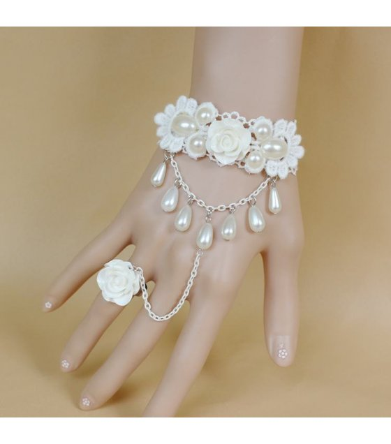 B192 -Bride wedding accessories Korean female pearl princess Lolita White Rose lace bracelet with ring