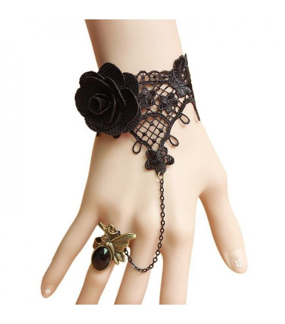 B193 - Korean fashion lady black lace roses bracelet with butterfly ring fitting suit wrist jewelry