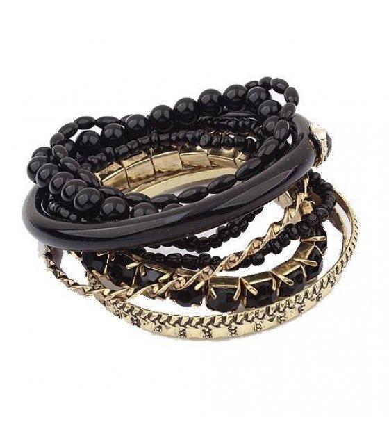 B212 - Black Layered Bracelet