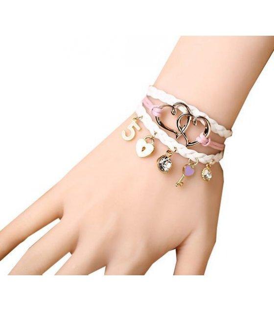 B256- White Tassel Love Bracelet