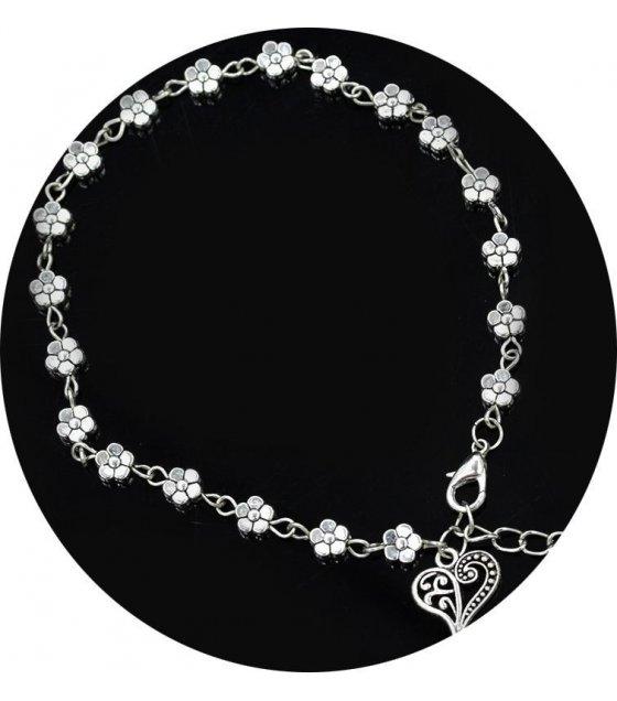 B290 - Silver Floral Anklet