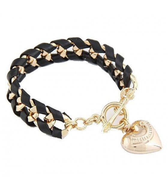 B319 - Peach Heart Multilayered Bracelet