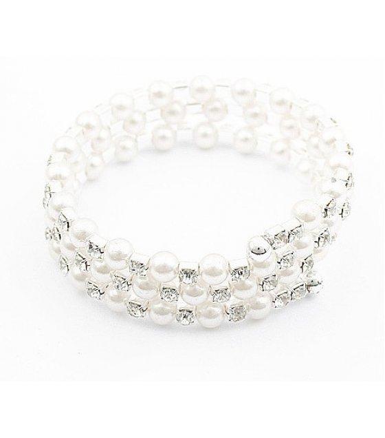B545 - Multi-layer diamond pearl bracelet