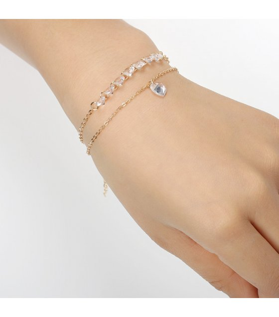 B574 - Love gemstone bare stone zircon bracelet