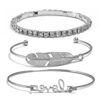 B606 - Jewelry leaves set diamond open bracelet