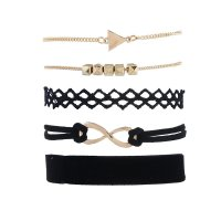 B607 - Black lace arrow five-piece ladies bracelet