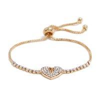B608 - Simple heart heart alloy diamond bracelet