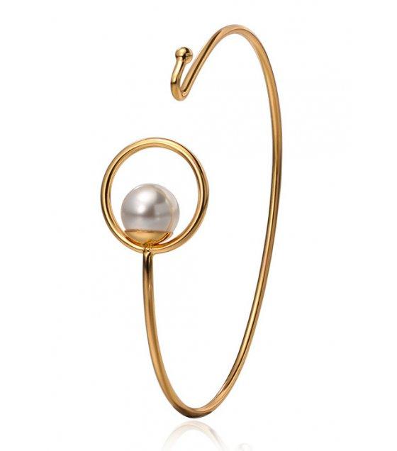 B611 - Pearl circle geometric bracelet