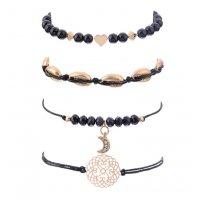 B642 - Flower beads chain moon Bracelet