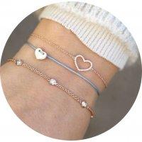 B687 - Diamond love heart multi-layer women's bracelet