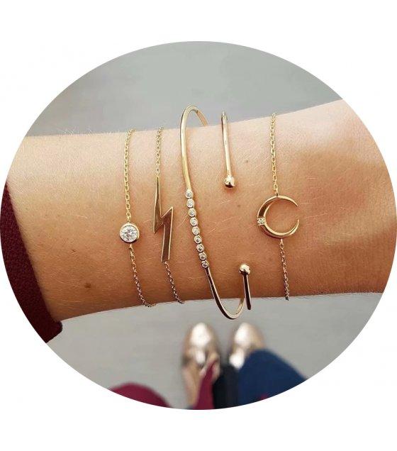 B689 - Bohemian crescent diamond open bracelet