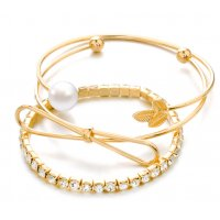 B693 - Korean pearl leaves Adjustable Bracelet