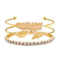 B694 - Korean Golden Leaves Bracelet Set