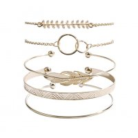 B695 - Retro pattern circle five-piece bracelet