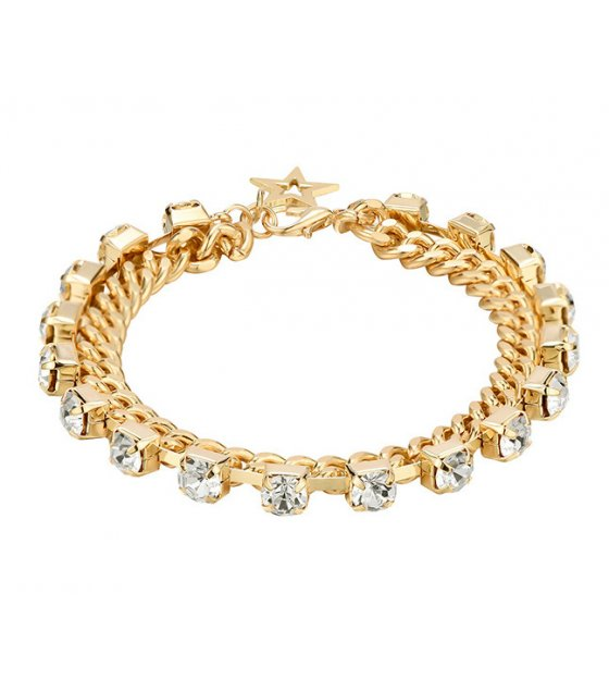 B714 - Diamond double copper chain fashion bracelet
