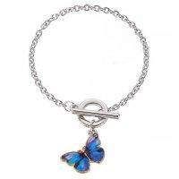 B767 - Korean blue butterfly pendant bracelet